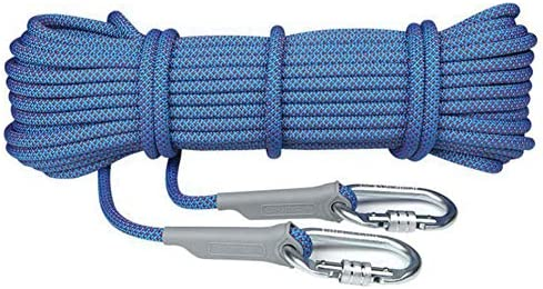 登山ロープ、ジムクライミングロープ屋外ハイキングコード安全ロープエスケープ救助ロープヘビーデューティロープ2個カラビナ,a,10.5mm10m