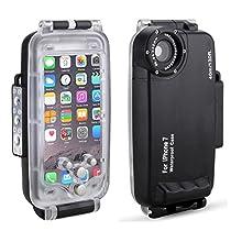 HolaFoto Meikon EasyDive 40m/130ft Waterproof Underwater Housing Case for iPhone 7 - Black