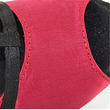 XIAMUO Anpassbare Damen Tanz Schuhe Satin Latin/Salsa Sandalen angepasste Ferse Innen-/Leistung Rosa/Leopard, Leopard, US 8 / EU 39/UK6/CN 39