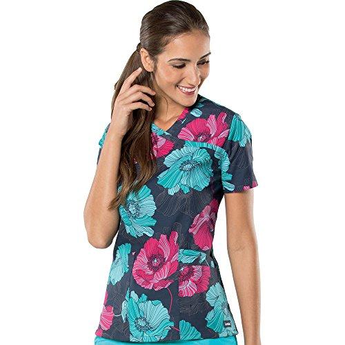 - Landau Women's Mock Wrap Floral Print Tunic Scrub Top Small Print