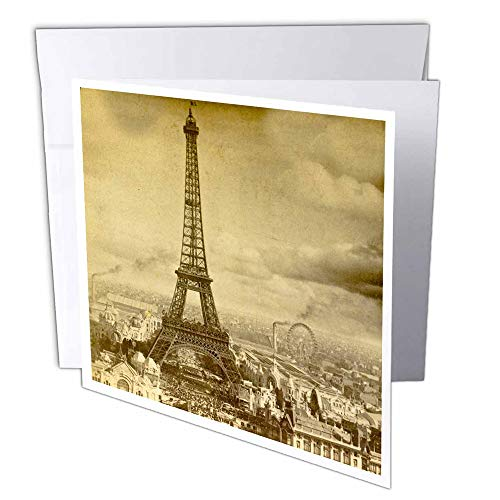 3dRose Eiffel Tower Paris France 1889 Sepia tone - Greeting Cards, 6 x 6 inches, set of 6 (gc_6795_1)