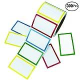 "APLANET 300pcs Colorful Name Label Stickers Ordinary Labels, 3.5"" x 2.25"", 4 Colors"