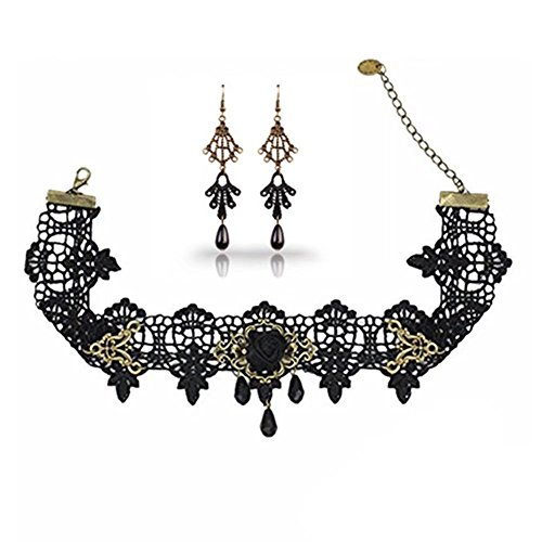 Lolita Jewelry (LEFINIS Black Rose Bead Popular Girl Gothic Lolita Black Lace Collar Choker Necklace Earrings Set)