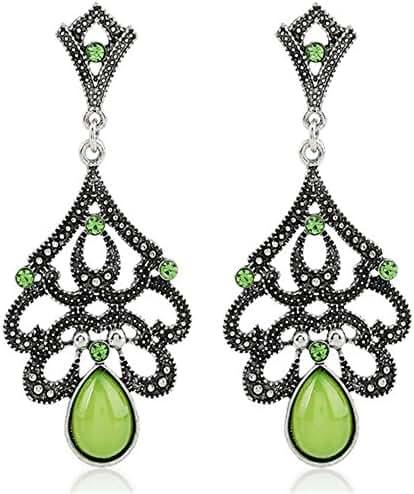 STI-JEWELS Beaded Tassel Dangle Earrings Vintage Retro Stone Drop Earrings Jewelry For Women