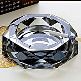 ZDD Octagon Crystal Glass Ashtray/Creative Personality Home Practical Ashtray/Decorative Ornaments Gifts (Three Colors Optional) (Color : Black, Size : Ø20cmH4cm)