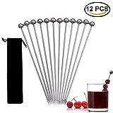 BraveWind 12 Pcs 4'' Stainless Steel Cocktail Picks Fruit Stick Toothpicks Wine Mixing Sticks Party Supplies with 1 Pcs Storage Bag