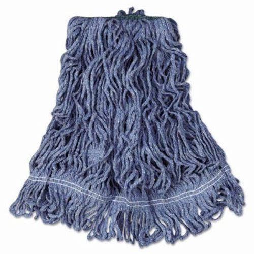 Rubbermaid Commercial Super Stitch Blend Mop Heads, Cotton/Synthetic, Blue, Large - six wet mop heads per case.