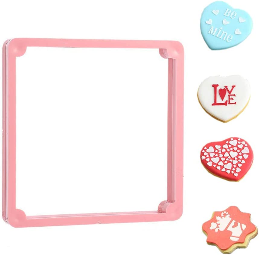 Cookies Holder Magnetic Stencil Frame, for Sugar and Royal Icing Cookie Making, Pink (Other, 4.7x4.7)