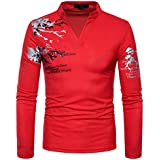 kaifongfu Men's Blouse Casual Print Stand Neck Pullover Long Sleeved T-Shirt Top Blouse