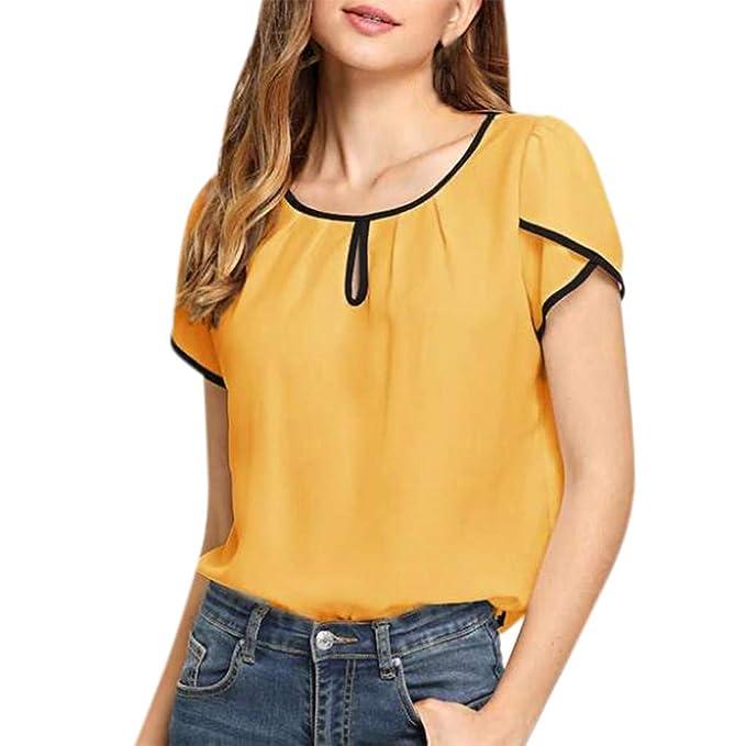 462f09220c7b Camisas Mujer Fiesta Elegante LANSKIRT 2019 Camiseta Casual de Manga ...