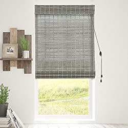 "Chicology Bamboo Roman Shades / Wood Window Blind, Bamboo, Privacy - Koala, 36""W X 64""H"