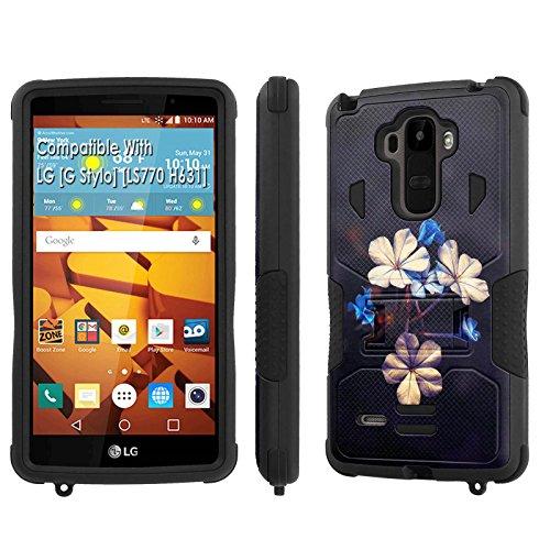 LG [G Stylo] Tough Case [SlickCandy] [Black/Black] Hybrid Combat [Kick Stand] [Shock Proof] Phone Case - [Flower Bloom] for LG [G Stylo] [LS770 H631] -  SlickCandy for LG [G Stylo], P-LGLS770-1E1-BKBK-VRI-P043