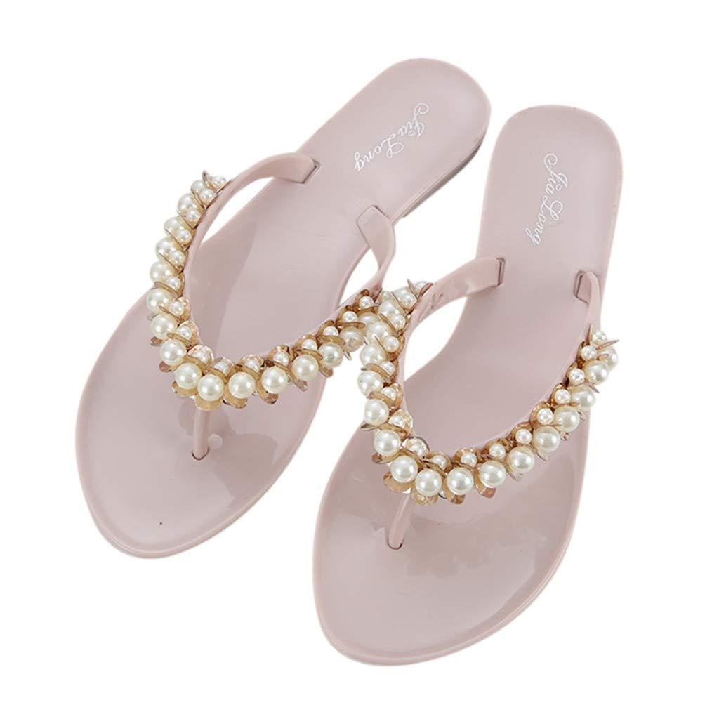 HIRIRI Womens Beach Flip-Flops Pearl Fashion Flat Sandals Summer String Bead Round Toe Outdoor Leisure Slippers