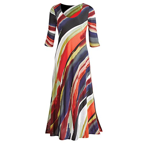 Women's Maxi Dress - Canyon Sunset - 3/4-Sleeve - Ankle Length - 3X