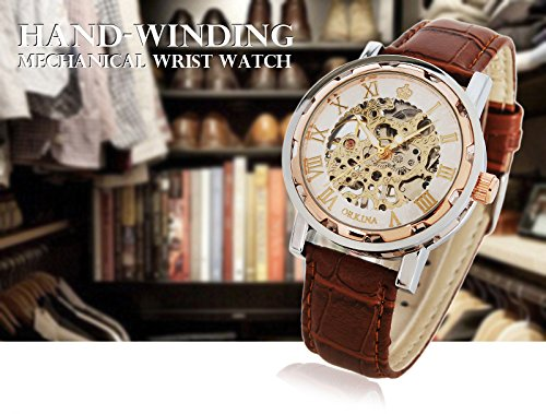 Watches, Mens Mechanical Skeleton Hand-Wind Steampunk Bling Watch for Men Women, Roman Numeral PU Leather Silver Rose-Gold Case Unisex Wrist Watch 7
