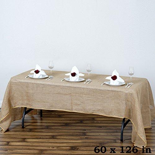 Efavormart Fine Rustic Burlap Tablecloth 60x126 Natural Tone -