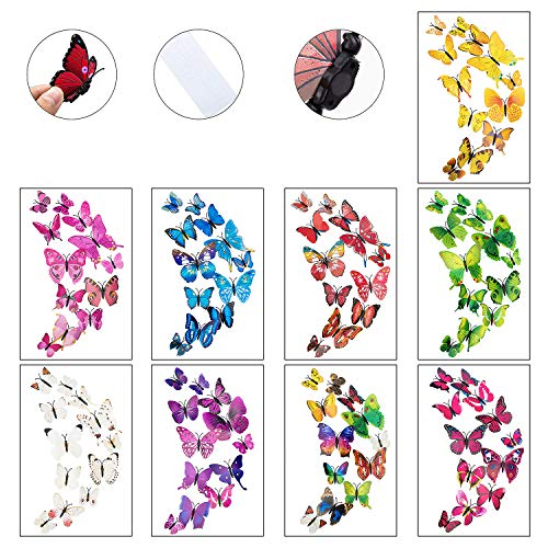 108 x PCS 3D Colorful Butterfly Wall Stickers Decal DIY Art Decor Crafts for Nursery Room Classroom Offices Kids Girl Boy Baby Room Bedroom Bathroom Living Room Sticker Set -