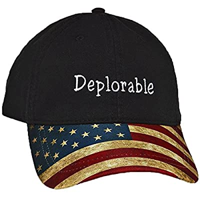 Black Deplorable Trump Hat for Republicans-United States Flag Hat Embroidered In NC