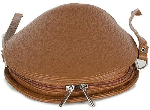 Pequeño Bolso de Piel italiana - pequeña (20 x 17 x 9 cm) Brown (coñac)