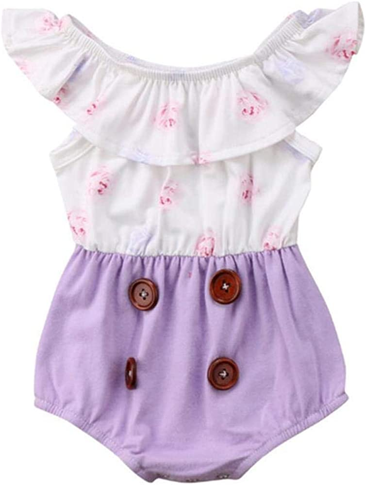 Newborn Infant Baby Girls Summer Romper Fly Sleeve Jumpsuit Floral Bodysuit Clothes Outfits