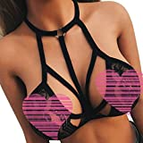 Women Sexy Bra Bandage Lace Bralette Top Unpadded Hanging Neck Chemise Lingerie Teddy (XL, Black)