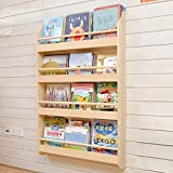 GX&XD Solid wood simple Magazine wall rack,Kindergarten Baby child Bookshelf Bookcase Wall mounted hanging basket Shelf Newspaper and magazine rack Magazine-B