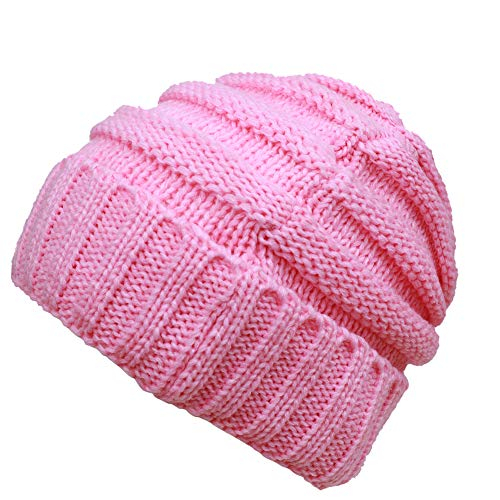DEMTER Unisex Winter Christmas Cap Warm Cable Knitting Hat Parent-Child Hats Wool Baggy Slouchy Thick Beanie Skull Cap for Women Men 2 Packs
