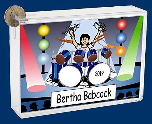 Personalized NTT Cartoon Side Slide Frame Gift: Drummer Female Gift, Band, Drum Player, Recital, Concert