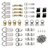 KUUQA 96 Pcs Photo Frame Hanging Hooks Kit, 9 Models Picture Hanger Hooks with Screws for Office Family Photo Picture Painting Hanging Assorted Types