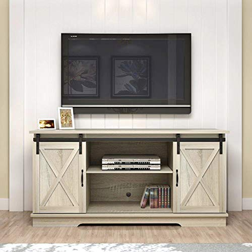 "Rainbow Sophia Forest Series Wooden TV Stand with Sliding Barn Door for TVs up to 65"" (White Oak)"