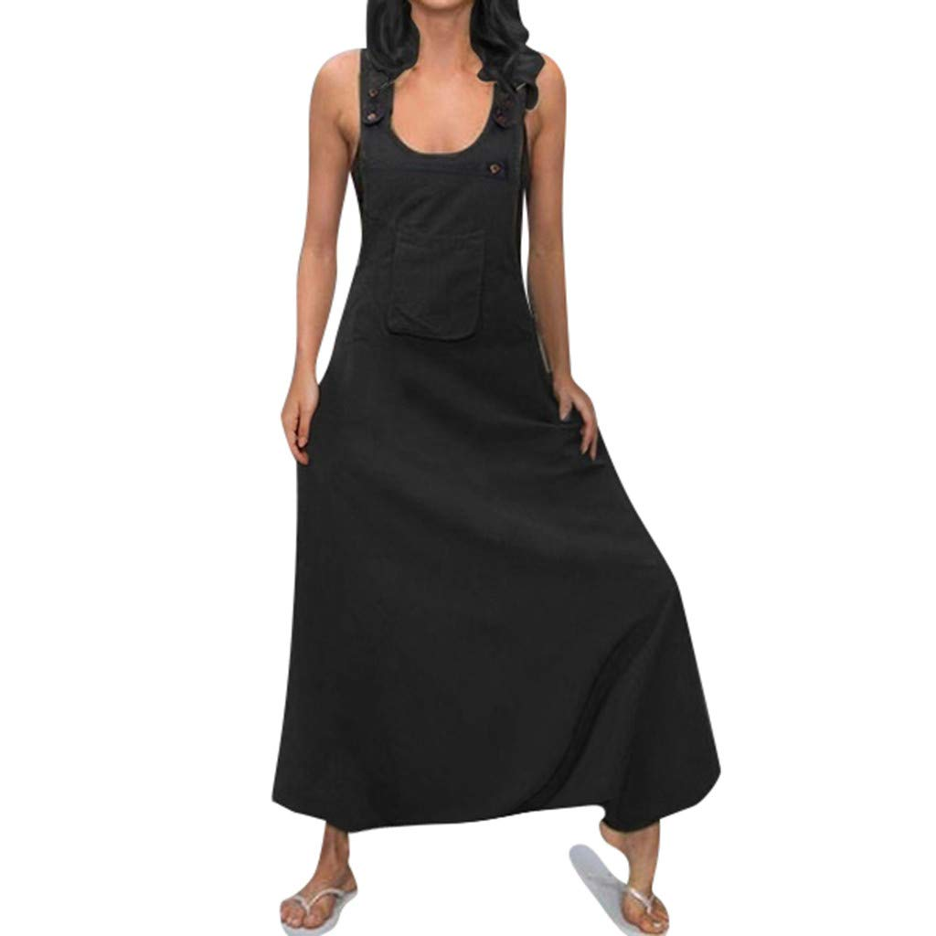 TIFENNY Plus Size Rompers for Women U Neck Sleeveless Backless Dress Side Pockets Baggy Long Jumpsuits Siamese Pants Black