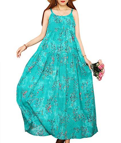 - YESNO Women Casual Loose Bohemian Floral Print Empire Waist Spaghetti Strap Long Maxi Summer Beach Swing Dress E75 (XL, E75 As Picture11)