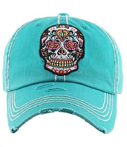 KB Adjustable Rhinestone Sugar Skull Cadet Cap Hat (Turquoise Blue 2)