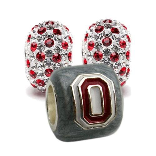 Ohio State Charms | Ohio State Gray Block O with Crystal Charms | Officially Licensed Ohio State Jewelry | OSU Gifts | Ohio State Jewelry | OSU Charms | Stainless Steel