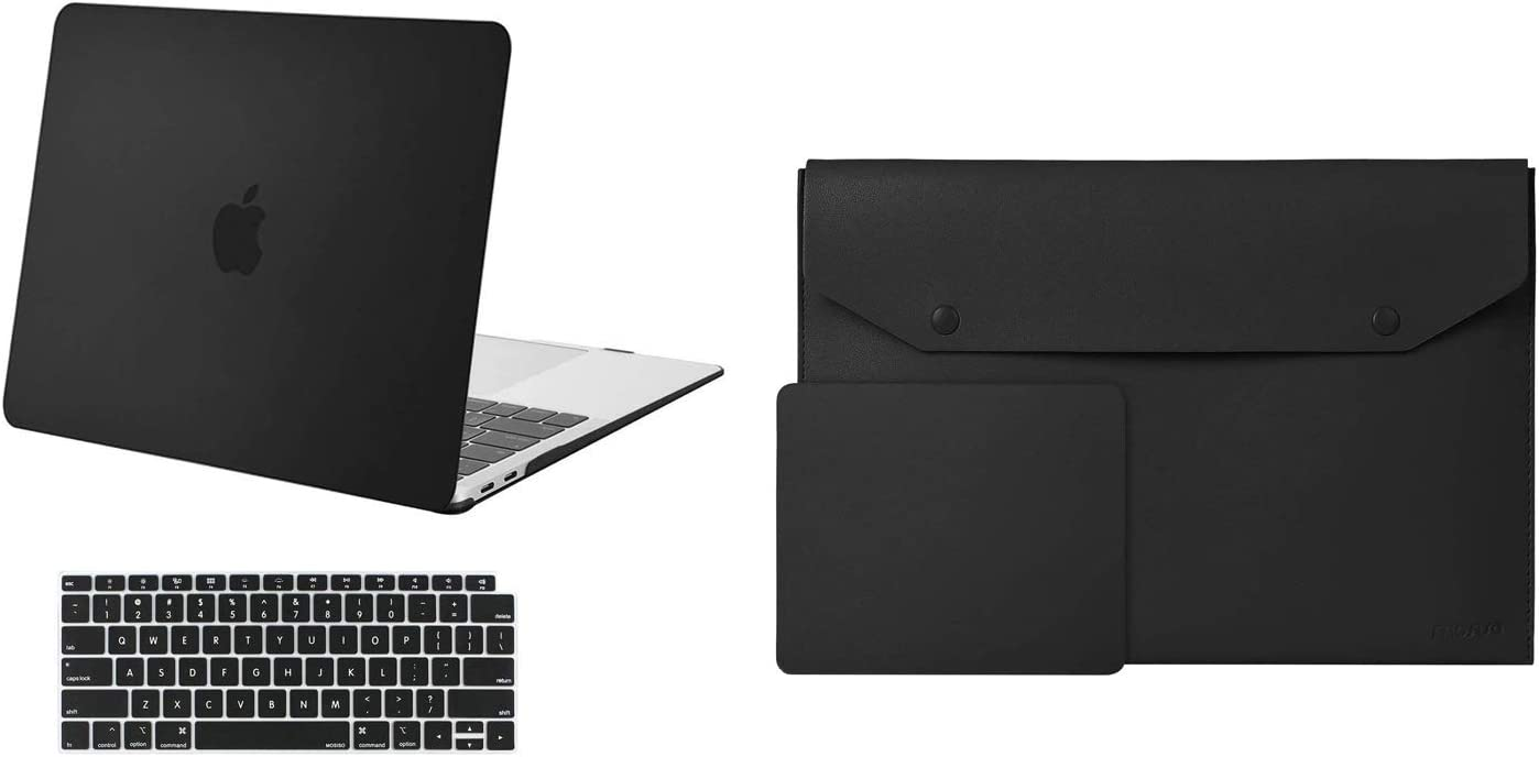MOSISO MacBook Air 13 inch Case 2020-2018 Release A2179 A1932, Plastic Hard Shell Case & Keyboard Cover & Office Desk Pad PU Leather Dual Side Laptop Desk Mat Writing Pad