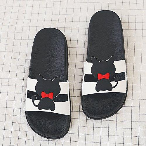 bianco nero cartoon home slittamento pantofole ciabatte anti spessore e e home studenti donna estate fankou sweet interno in da CAT 39 freddo uomini a dello bagno di qgpC4A