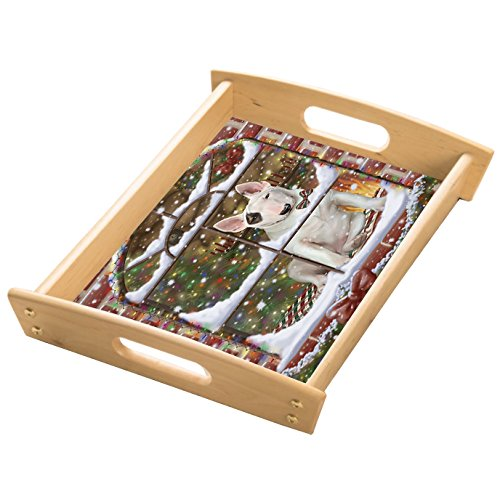 Please Come Home For Christmas Bull Terrier Sitting In Window Wood Serving Tray with Handles Natural