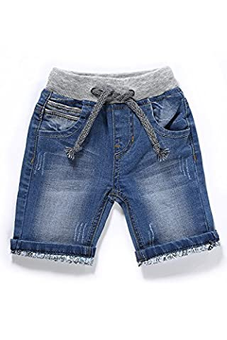 Little-Guest Baby Boys' Clothes Blue Knee-Length Jeans Shorts B210 (6-9 Months, Blue 2) - Blue Patchwork Shorts
