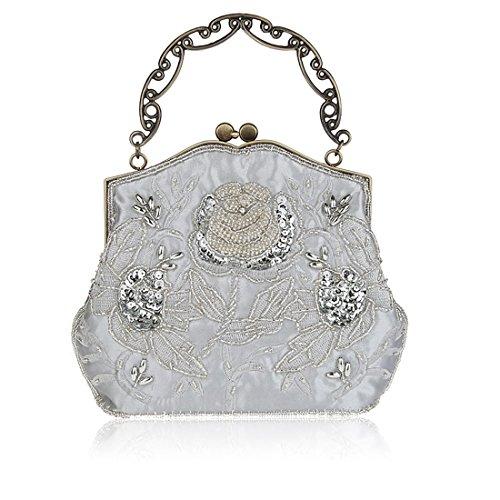 HT Evening Bag - Cartera de mano para mujer plata