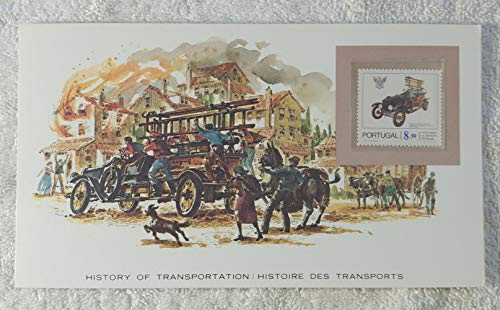 The Fire Engine #1 - Postage Stamp (Portugal, 1981) & Art Panel - The History of Transportation - Franklin Mint (Limited Edition, 1986) - Model T Fire Truck, Firefighting