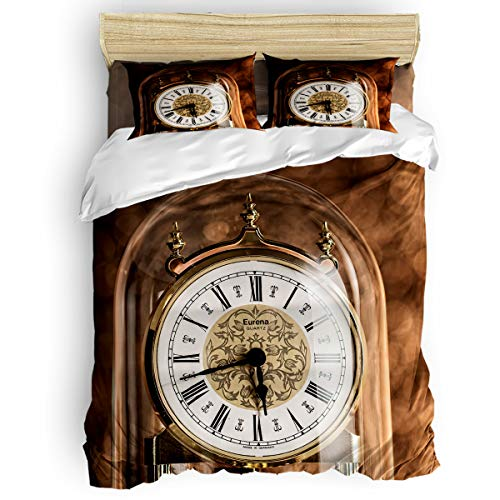 LUSWEET Duvet Cover Setfull Size - Antique Clocks in Glass Bottles 4 Pieces Bedding Sets - Lightweight Soft Bed Bedspread for Adult Kids with Flat Sheet 2 Shams