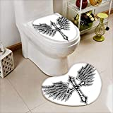 L-QN U-Shaped Toilet Mat-Soft Collection Heraldic Wing Cross Christ Christian Fable Feathers Faith King Heraldic 2 Piece Toilet Toilet mat