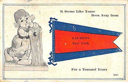 Laurens New York Dutch Child Pennant Flag Antique Postcard K95115