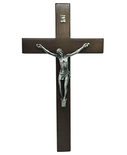 FengMicon Large Oak Wooden Cross for Wall with Crucifix, 13.9 Inch