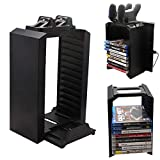 Multi-functional Charging Storage Vertical Stand Kit for PS4,MeiLiio 3 in 1 Host Controller Holds &12 Layers Game Discs Controllers & Dual USB Charging Dock Station for Sony PlayStation 4 - Black