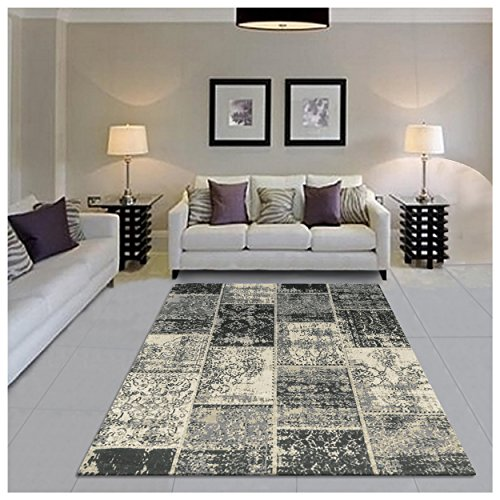 Superior Brighton Patchwork Collection Loom Woven Jacquard Cotton Rug 8' x 10' Black (Shug Rug)