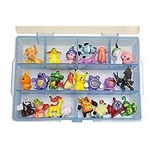 24 Piece Rubberized Pokemon Action Figure Set - Random Assortment from All Pokemon Generation with Organizer Box