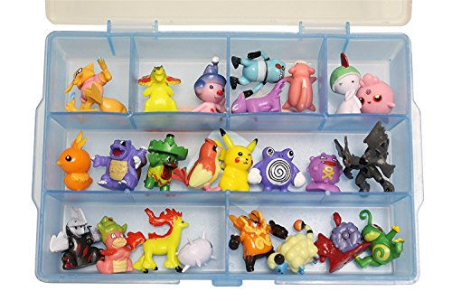 24 Piece Rubberized Pokemon Action Figure Set - Random Assortment from All Pokemon Generation with Organizer Box
