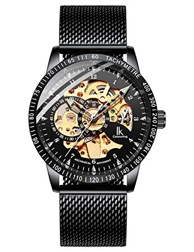 IK Colouring Men Watches, Luxury Business Casual Black Mesh Bracelet Automatic Mechanical Skeleton Wristwatch