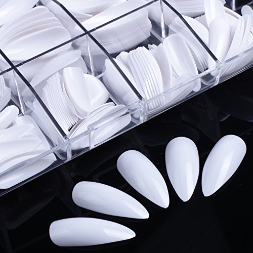 Ecbasket Long Claw Shape Stiletto Full Cover White Color Artificial Nail Tips with Box 500 Pcs 10 Different Sizes ,Gift for (Christmas Press On Nails)